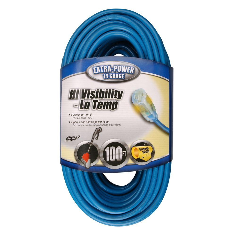 Southwire 100 Ft 14 3 Sjtw Hi Visibility Low Temp Outdoor Medium Duty Extension Cord With Power Light Plug 24698806 The Home Depot Outdoor Extension Cord Extension Cord Cord
