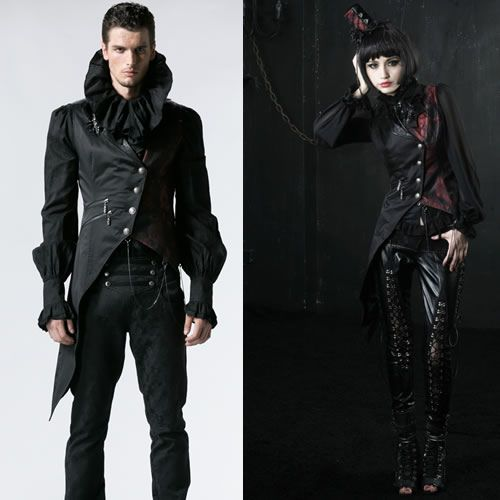 Men Women Black Red Gothic Burlesque Fashion Vests Scene Clothing SKU 11401132