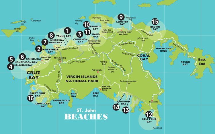 Beach Map St. John USVI Map & info on all beaches in 2020 ...