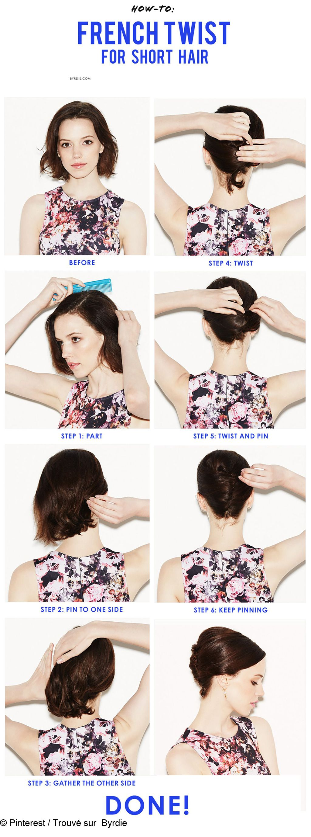 Comment faire un chignon banane | French twists, Short hair and Hair ...