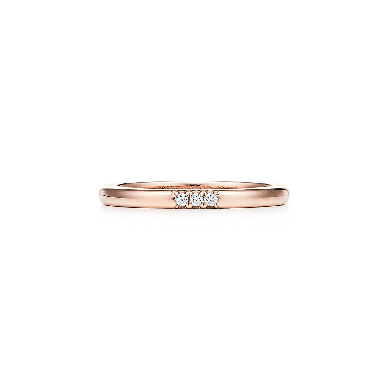 Tiffany Classic Wedding Band Ring In 18k Rose Gold With Diamonds 2 Mm Wide Tiffany Co In 2020 Wedding Ring Bands Classic Wedding Band Wedding Bands