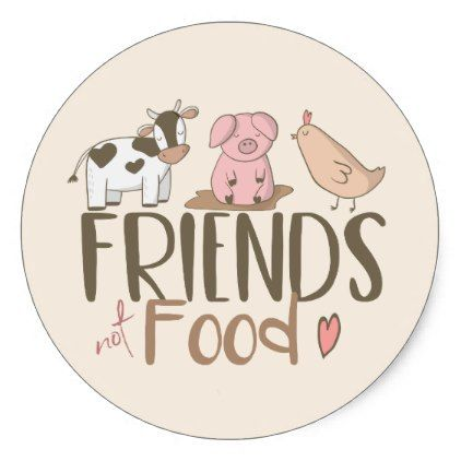 Friends not food 2 classic round sticker vegan personalize diy customize unique