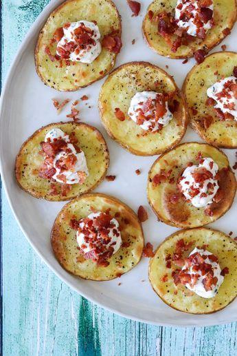 Bagte Kartoffelskiver Med Fetacreme Og Bacon - En Lækker Snack #tapasideer