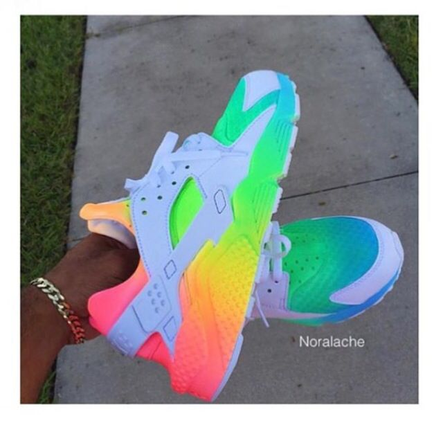 f1a198d64d59d5 Buy authentic nike air huarache rainbow grey green pink yellow trainer for  cheap sale