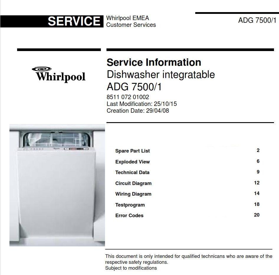 Whirlpool Adg 7500 1 Dishwasher Service Information Manual Technicians Guide Dishwasher Service Technician Repair Guide