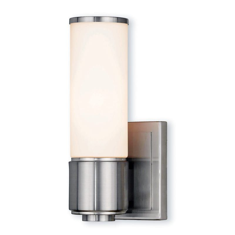 Photo of Livex Lighting 52121 Weston 1 Light Bathroom Sconce with Hand-Blown Glass Shade Brushed Nickel Indoor Lighting Bathroom Fixtures Bathroom Sconce