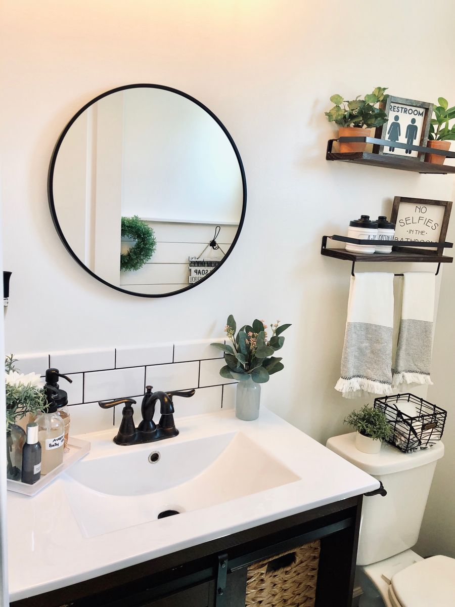 Hub Wall Mirror Round Mirror Bathroom Bathroom Decor Farmhouse Bathroom Mirrors [ 1500 x 1000 Pixel ]