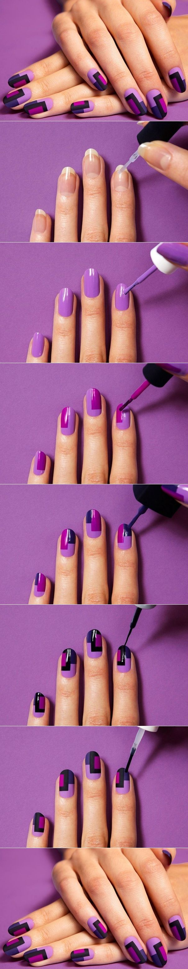 block nail painting tutorial | Nails | Pinterest | Nagelschere ...