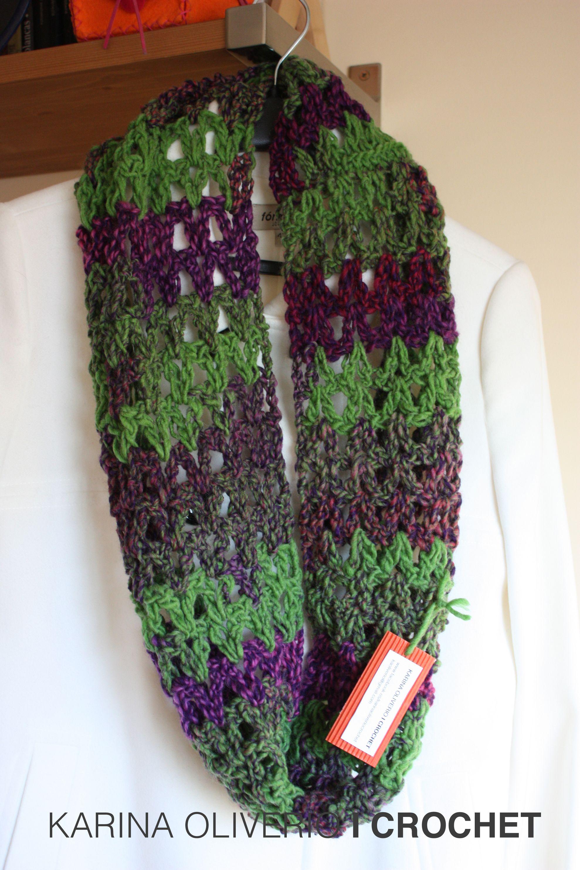 Crochet infinitive scarf pattern, bufanda infinita a crochet, patrón ...