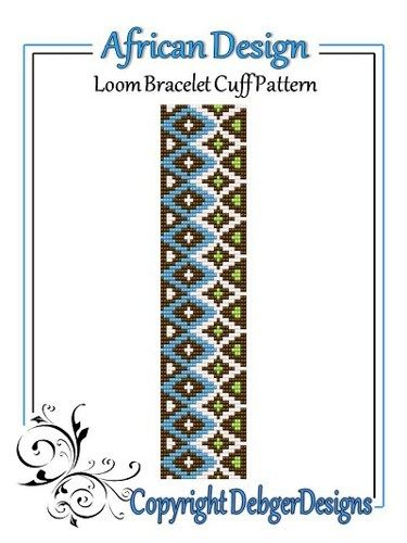 African Design - Loom Bracelet Cuff Pattern | Pinterest | Perlenblumen