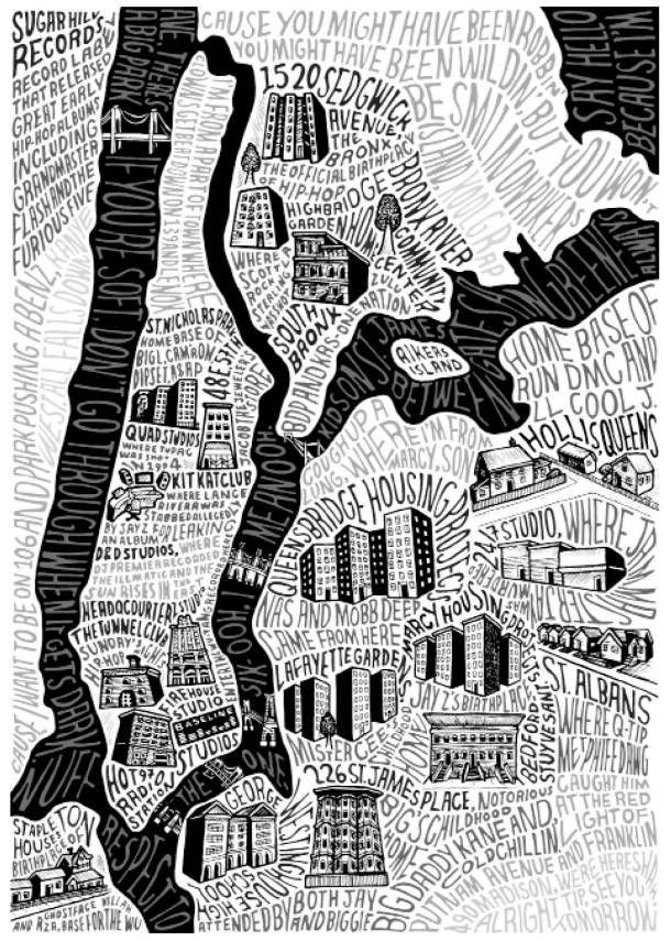 New york david eh poster map