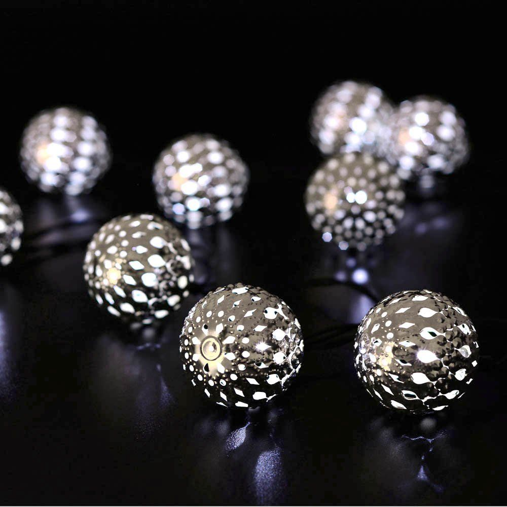 moroccan silver metal globe outdoor string lights for christmas