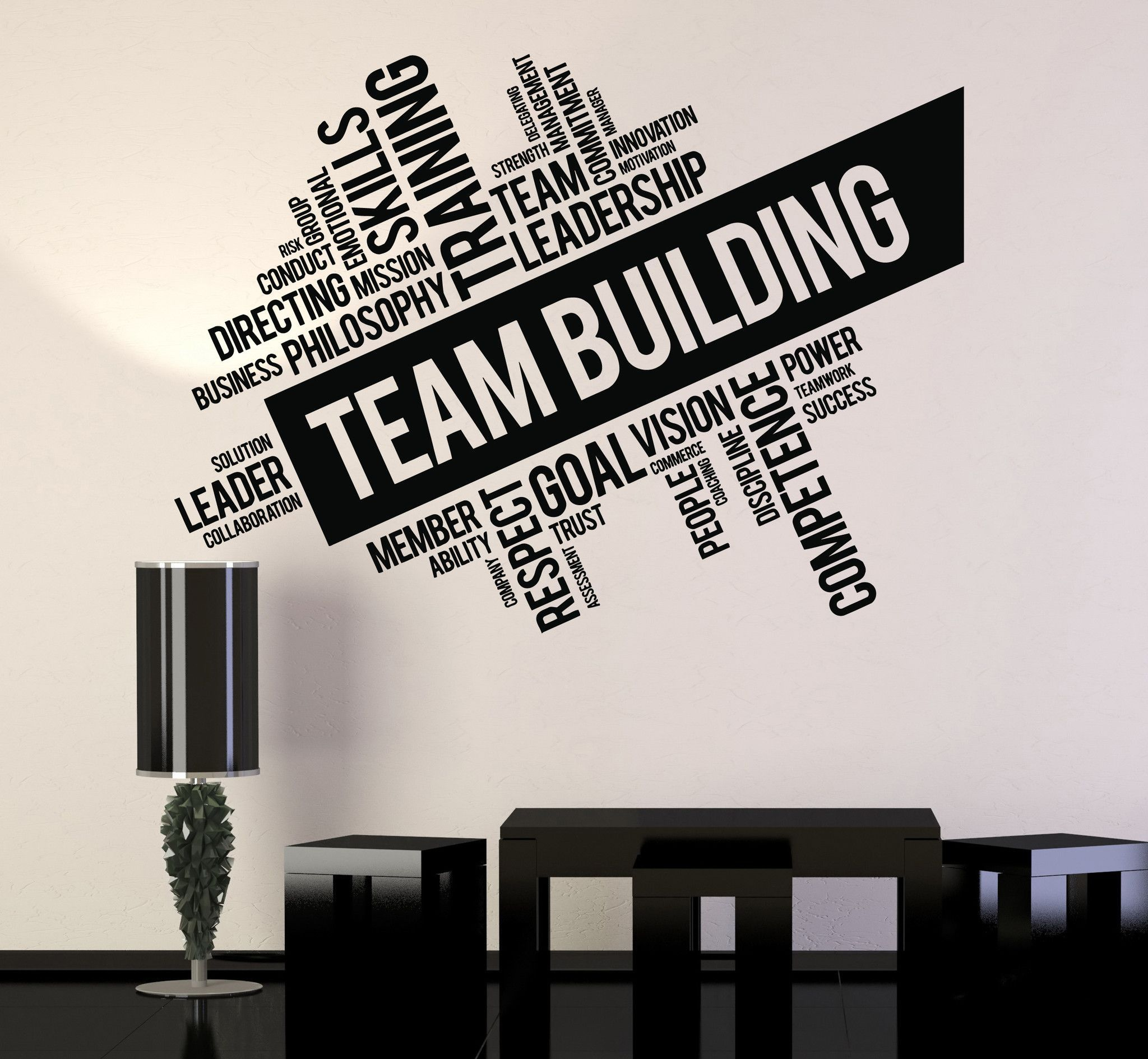 Vinyl wall decal team building words cloud office art for Word wall art
