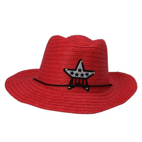 JTC Child Beach Straw Cowboy Cowgirl Hat 10 Colors (Red)  880b3393dcab