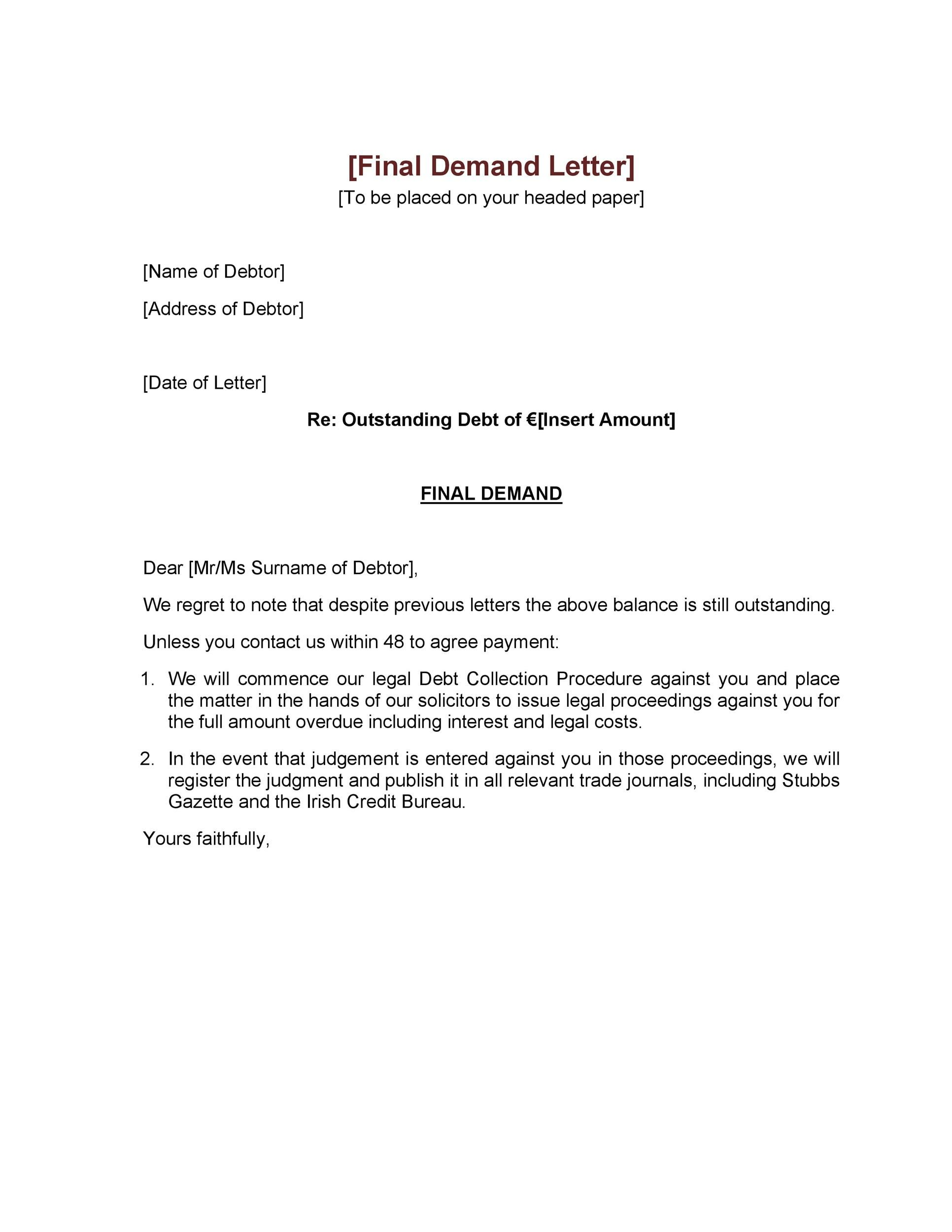 Printable 10day Demand Letter For Payment Eforms Free Fillable Forms 10 Day Demand Letter F Lettering Letter Templates Fillable Forms