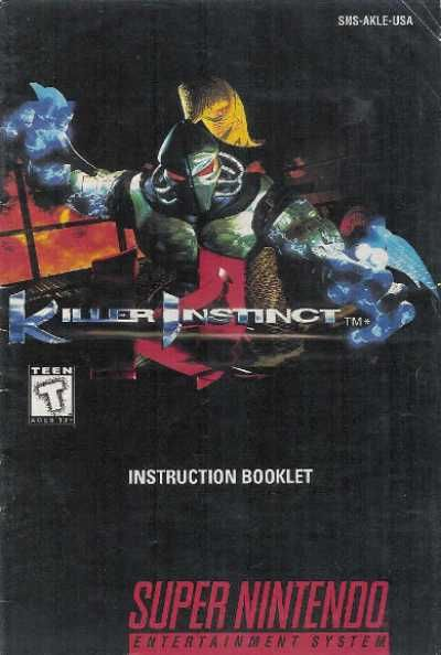 Killer Instinct Video Game Manual Instruction Booklet Nintendo