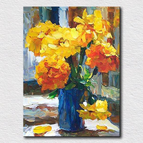 Yellow flowers in vase painting modern textured flower oil painting for bedroom decoration canvas painting