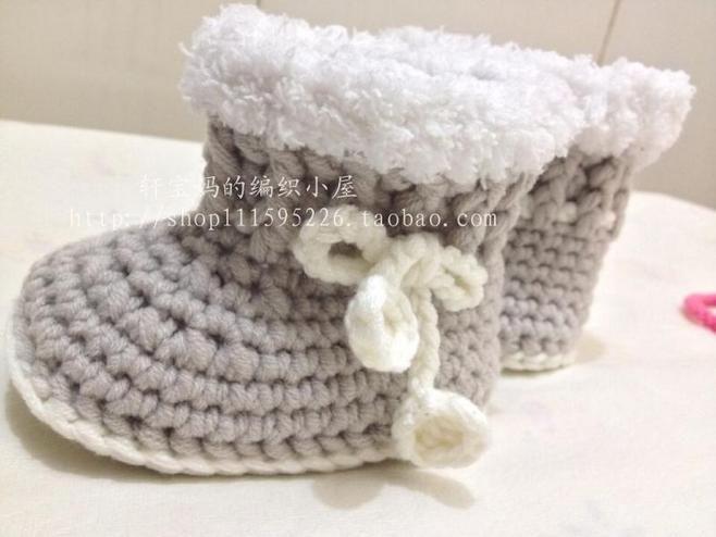 宝宝毛线鞋 钩针鞋 超级酷的宝宝短靴