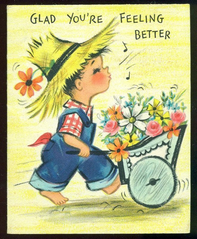 Vintage Hallmark Greetings Get Well Card Whistling Boy Wagon Full Of