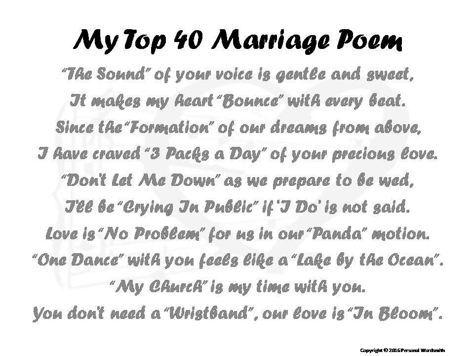 Funny Marriage Poem Music Title Love Poetry Short Wedding Poem By Personalwordsmith On Etsy Marriage Poems Wedding Poems Funny Poems