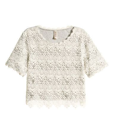 1c8af82e69c525 White lace-covered top with short sleeves.