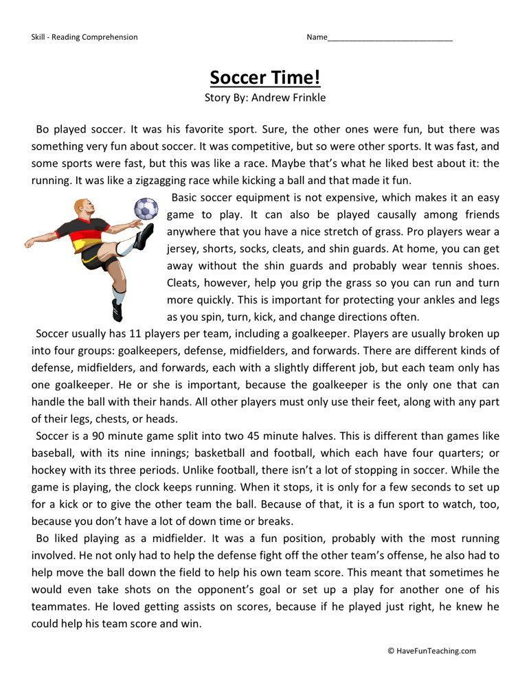 Reading Comprehension Worksheet Soccer Time – Free Ela Worksheets