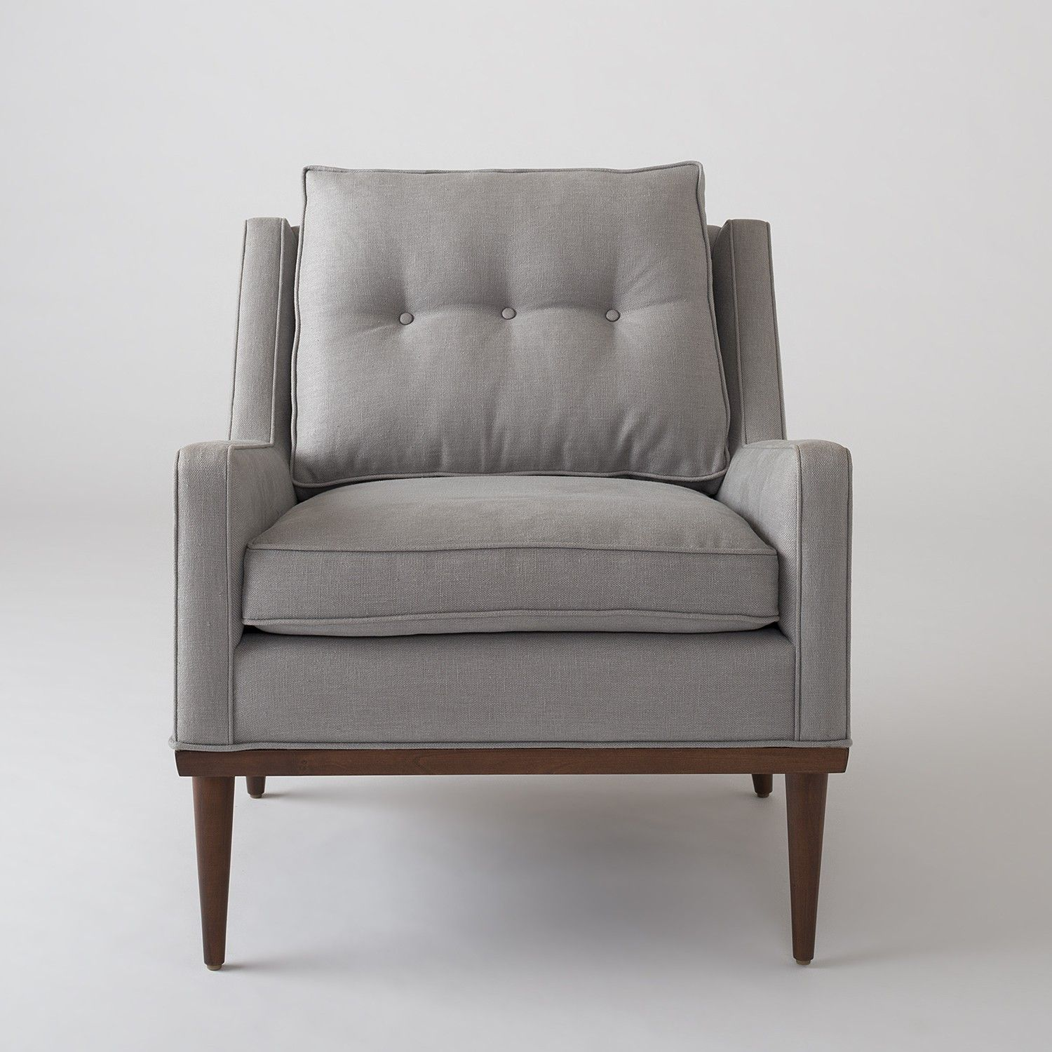 Jack chair bristol gray linen upholstery hardwood legs tufted cushion midcentury inspired made in the usa