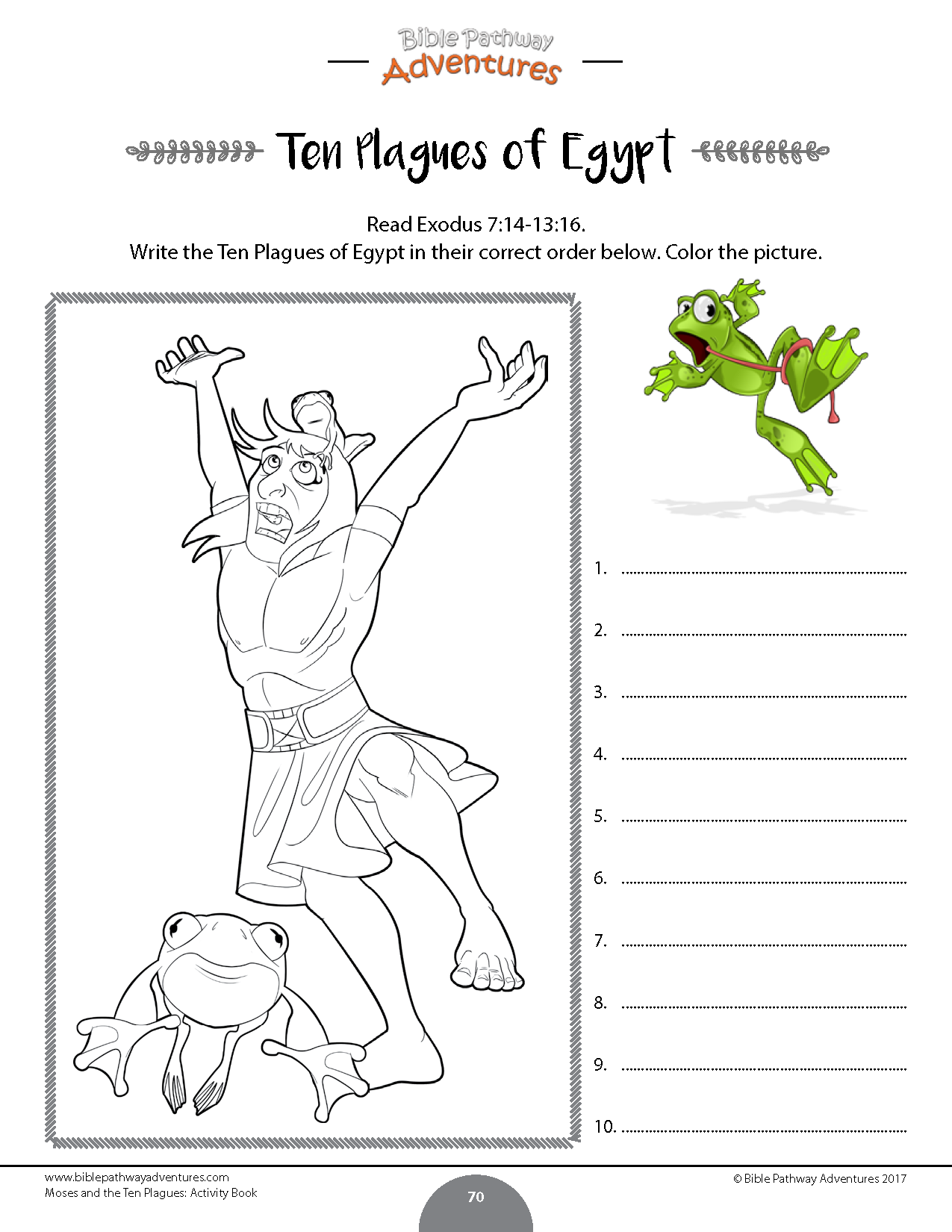 Moses And The Ten Plagues Bible Activity Book With Images