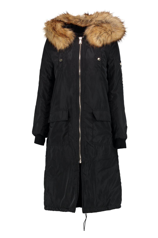 Molly Longline MA1 Bomber With Detachable Faux Fur Hoodalternative image