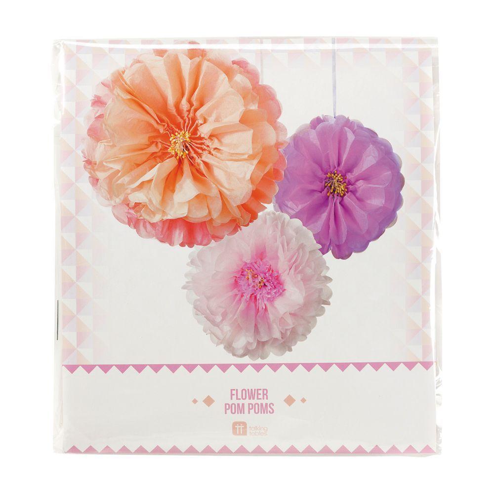 Blush Flower Hanging Tissue Paper Pom-Pom Decorations images