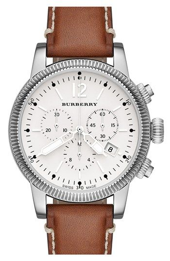 Burberry Round Leather Strap Watch, 42mm available at  Nordstrom ... 38f3deaa784