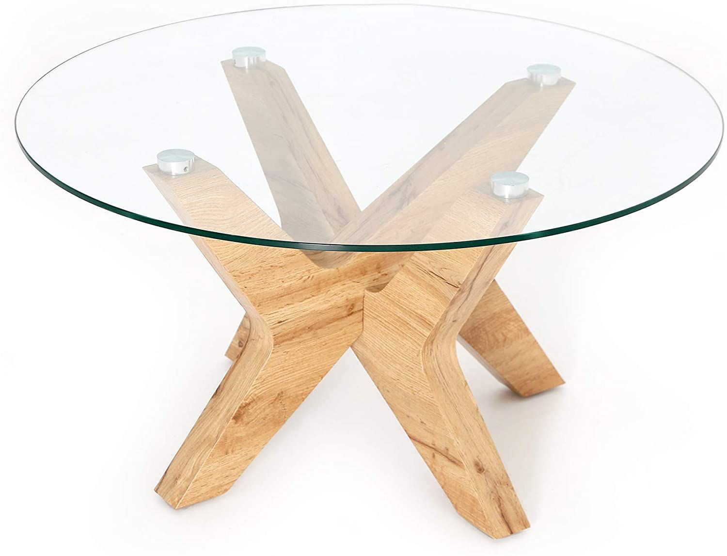 Ivinta Glass Coffee Table Round Industrial Design With Wood Frame For Living Room Home Dining Room Round Glass Coffee Table Coffee Table Elegant Coffee Table [ 1147 x 1500 Pixel ]