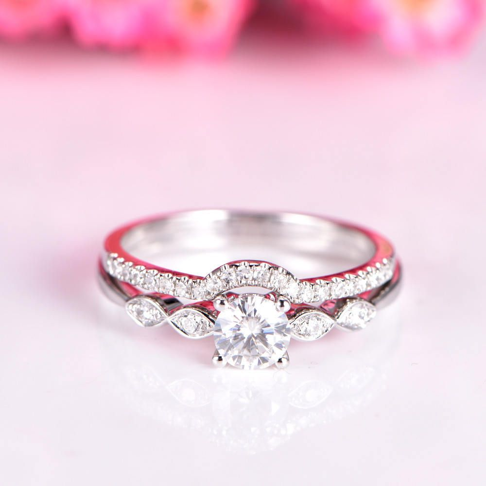 Moissanite ring set moissanite engagement ring half eternity diamond ...