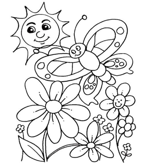 Spring with butterflies flying coloring for kids