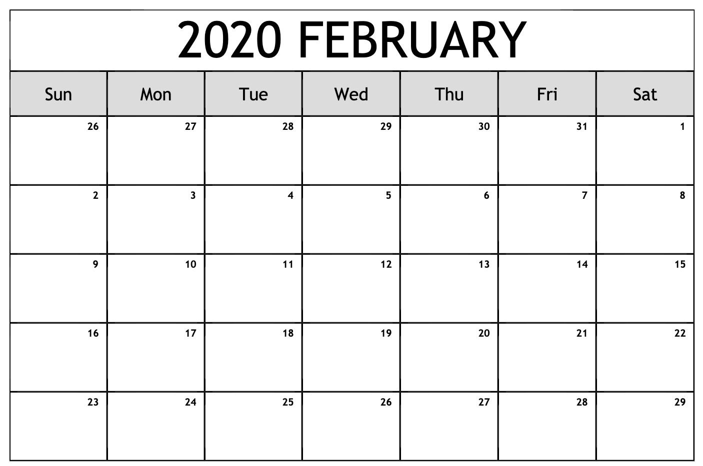 February 2020 Calendar Printable Template Pdf Word Excel
