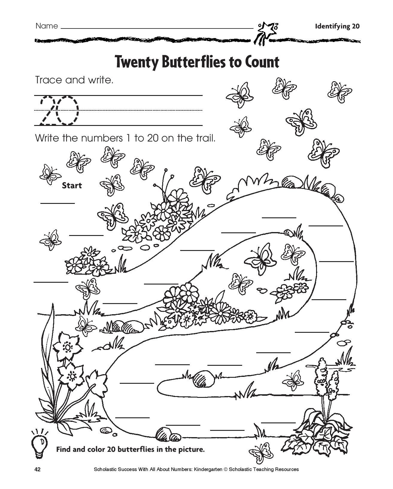 Predownload: This Easy Printable Math Sheet Will Help Young Children Count And Color 20 Butterflies Ages 3 4 Math Practices Math Printables The Twenties [ 1631 x 1313 Pixel ]