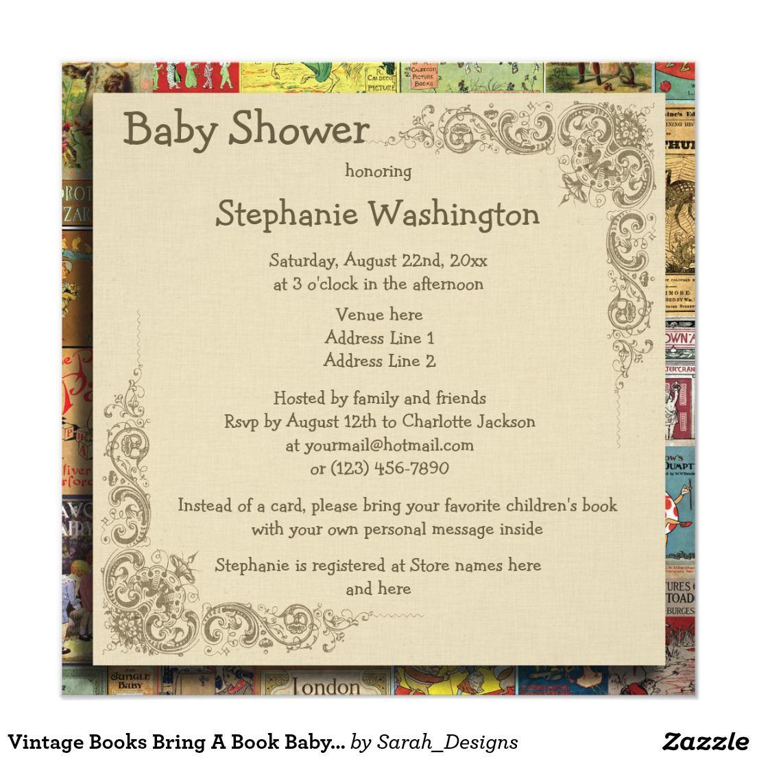 Vintage Books Bring A Book Baby Shower Invitation | Pinterest | Book ...