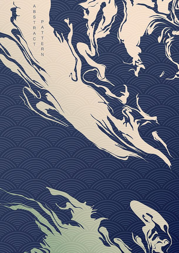 Abstract background with Japanese wave pattern vector. Oil ...
