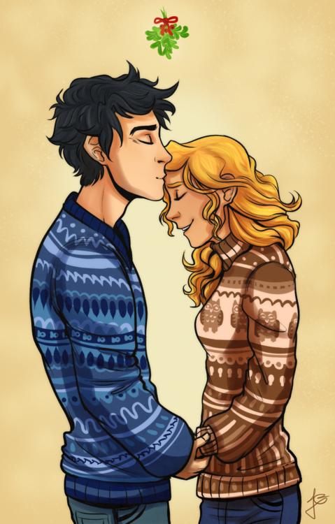 Christmas Percabeth by ryuuringo  | Fan Art | Percy jackson annabeth