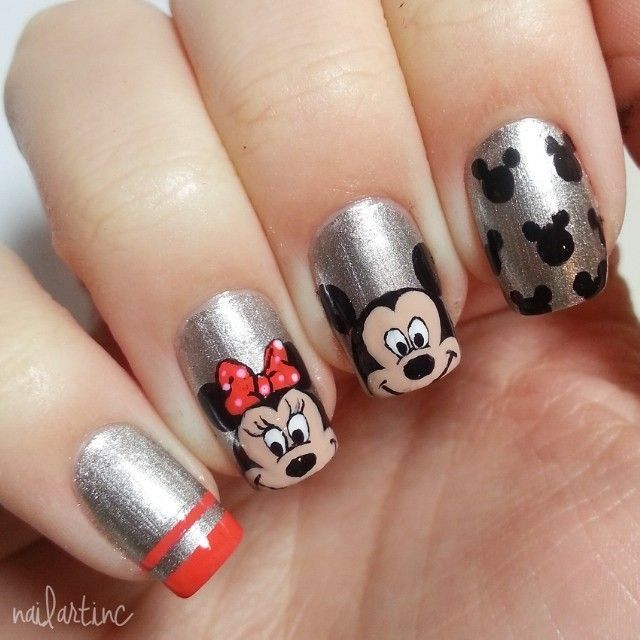 Mickey mouse nails!!! | fasching | Pinterest | Diseños de uñas
