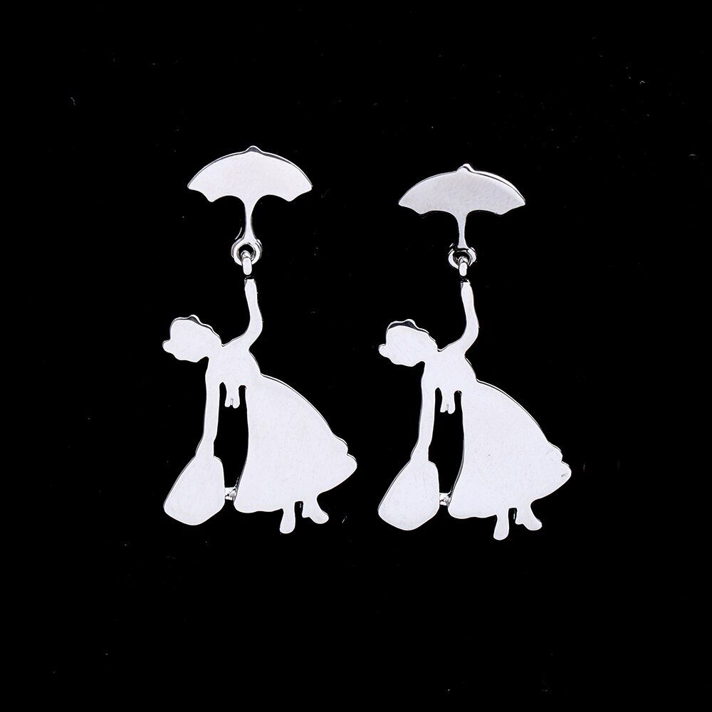 Hanreshe Earring Cute Umbrella Statement Earrings Wedding Party Jewelry Women Gold Silver Stud Earrings Women Metal Color Gold-color