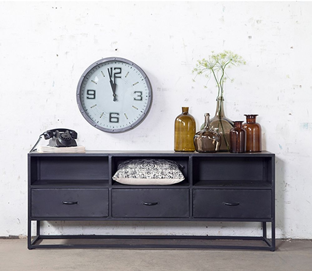 Kommode Industriedesign Giga Industriedesign Sideboard Kommode Urban 160 Cm Konsole Schwarz Metall