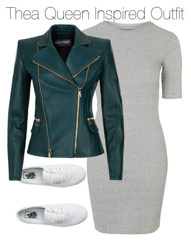 """""""Thea Queen Inspired Outfit"""" by staystronng ❤ liked on Polyvore featuring Topshop, Vans, Balmain, Arrow and theaqueen"""