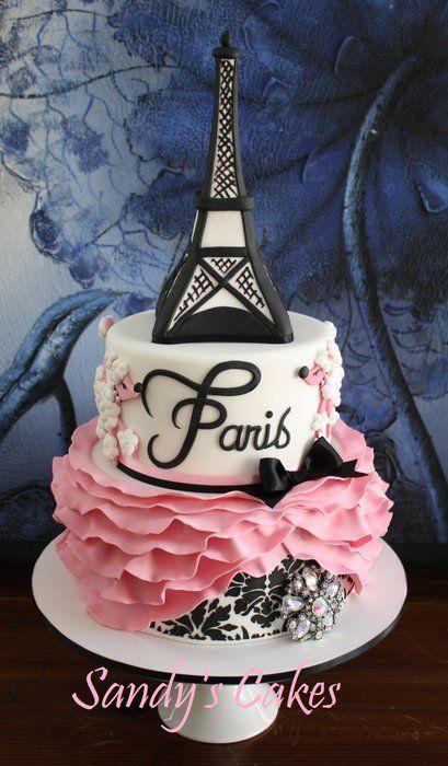 Marvelous Ooh La La Wedding Cake With Images Paris Themed Cakes Paris Funny Birthday Cards Online Fluifree Goldxyz