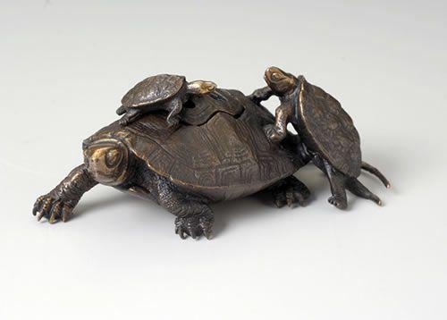 蝋型鋳造香炉 吉祥長寿 三匹亀 亀 香炉 工芸