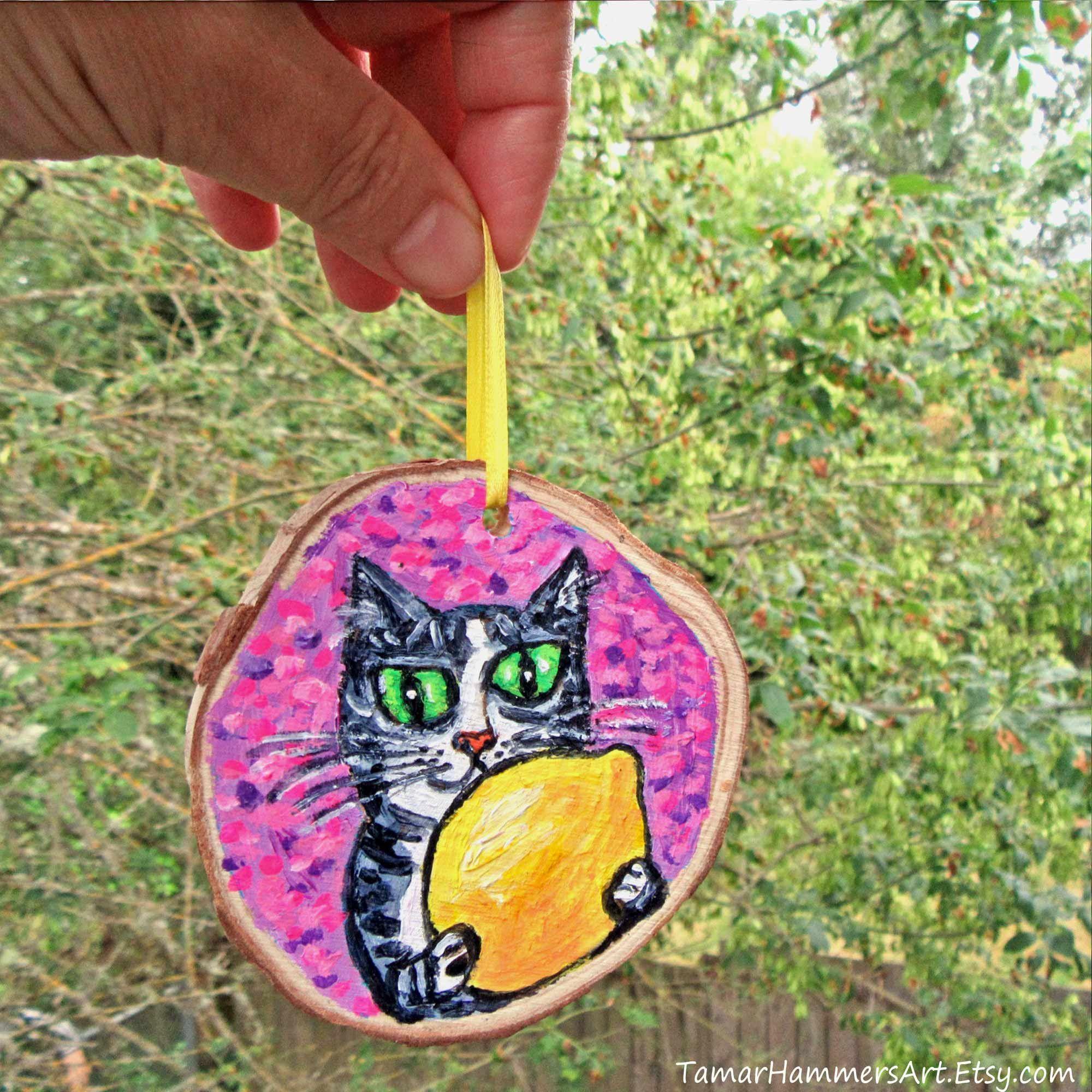 Cat Ornament Lemon Christmas Ornament Lemon Themed Kitchen Etsy Lemon Painting Lemon Art Cat Ornament