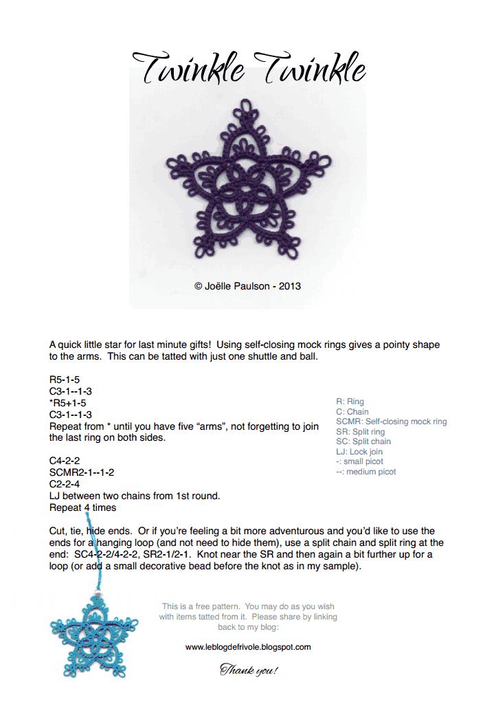 Twinkle Twinkle simple tatted star PDF pattern. | Tatting ...