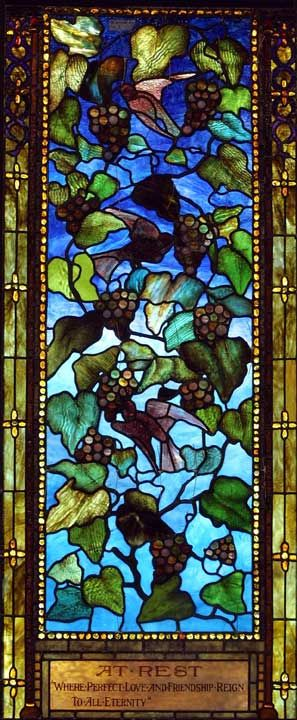 Client: First Presbyterian Church  Location:  Horseheads, New York  Restoration Date: 2004    Scope of Project:  Historic Restoration of a three-lancet Tiffany window with tracery.  The central figure area contained drapery glass and plating.