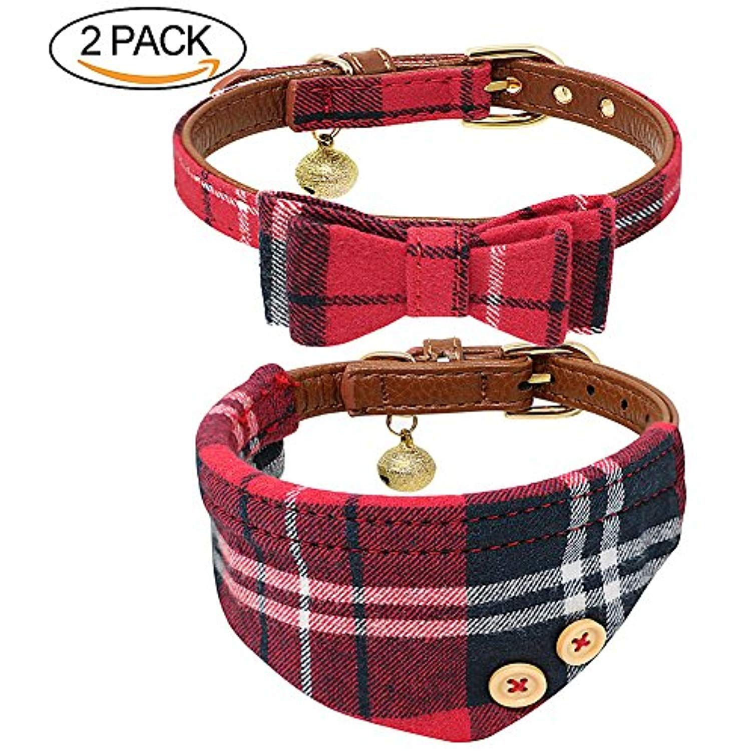 B Bascolor Pet Collar with Bell Leather and Plaid Bowtie