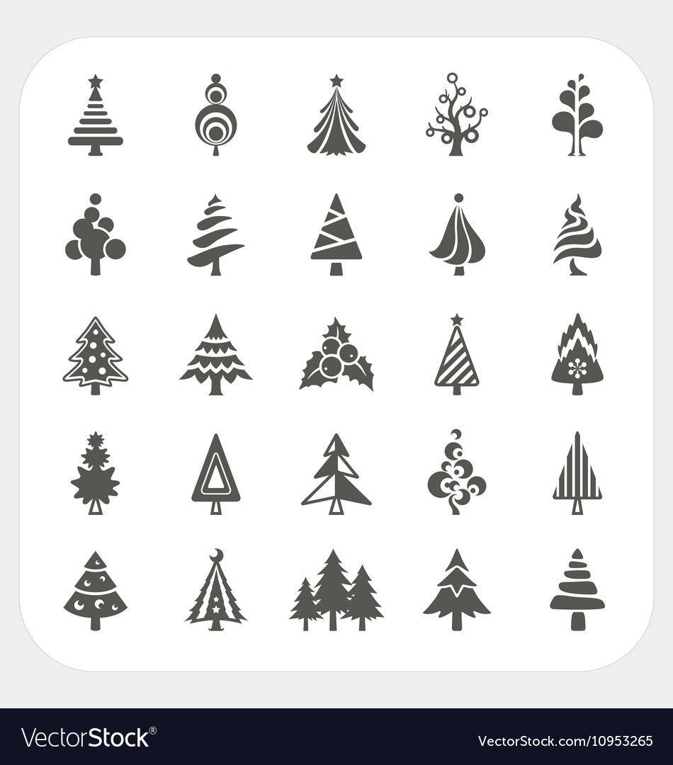 Christmas Tree Icons Set Royalty Free Vector Image Sponsored Icons Set Christmas Tree Ad Tree Icon Vector Free Art Icon
